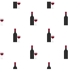 Bottle and glass pattern flat vector