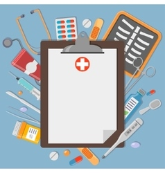 Clipboard with medical elements vector image