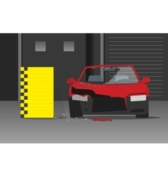 Crashed car on dark garage vector