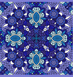Decorative blue floral ornamental pattern vector