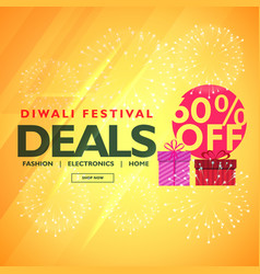 diwali festival deals and offers with gift box vector image