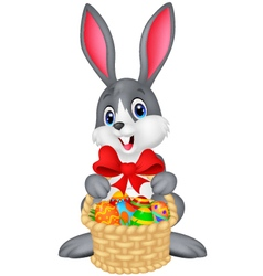 Easter bunny with bucket of eggs vector image vector image