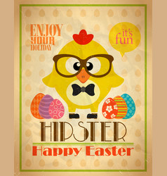 Easter poster design hipster style vector
