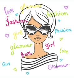 Fashionable girl in sunglasses Drawn by hand vector image vector image