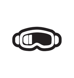 Flat icon in black and white style ski goggles vector