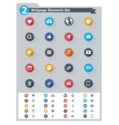 Flat webpage elements icon set vector