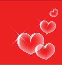 glassy bubble hearts vector image