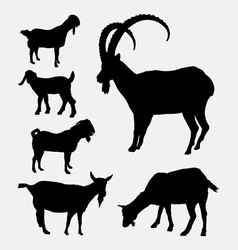 Goat pet animal silhouette vector image vector image