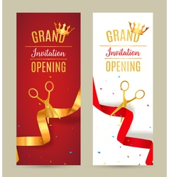 Grand opening invitation banner golden and red vector