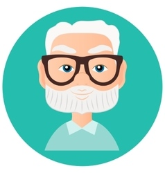 Grandfather faces avatar in circle vector