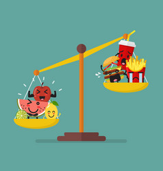 Healthy food and junk food balancing on scales vector