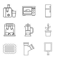 Internal part icons set outline style vector