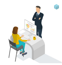 Isometric people working in office vector