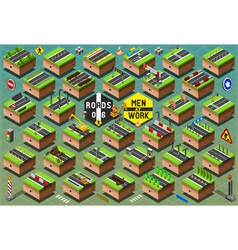 Isometric Road Signs Set on Green Terrain vector image