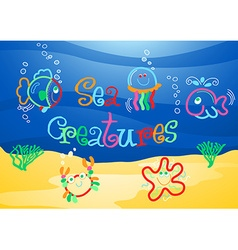 Little sea creatures under the sea vector