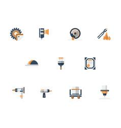 metal processing equipment flat icons set vector image