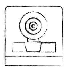 Monochrome sketch of webcam in square frame vector