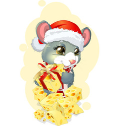 Mouse and gift vector