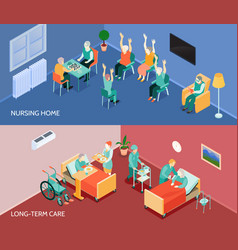 Nursing home isometric horizontal banners vector