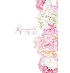 peony pink vertical border vector image vector image