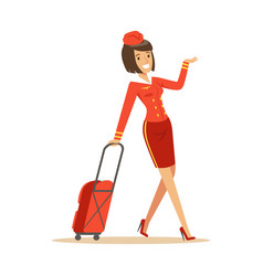 Pretty smiling stewardess carrying her luggage vector