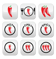 Red hot chili peppers buttons set vector