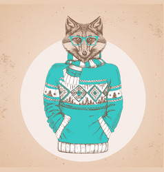 Retro hipster animal fox dressed in pullover vector