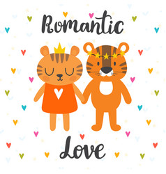 romantic greeting card with two cute tigers hand vector image