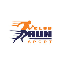 Run sport club logo template emblem with running vector