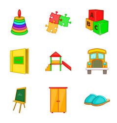 School game icons set cartoon style vector
