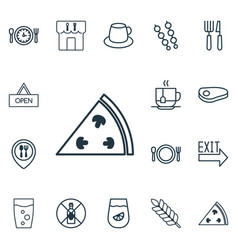 Set of 16 restaurant icons includes pepperoni vector