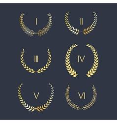 Set of golden laurel wreath vector