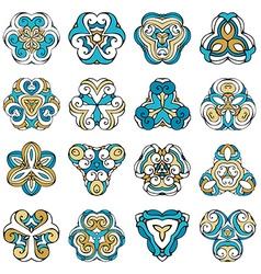 Set of triangular geometric ornaments vector