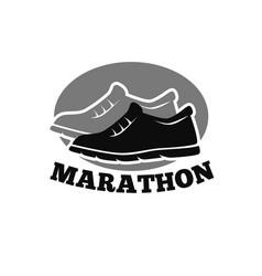 shoes for marathon emblem vector image
