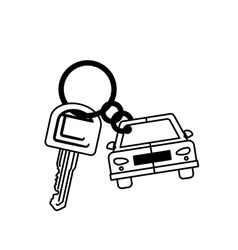 Silhouette car shaped key chain icon vector