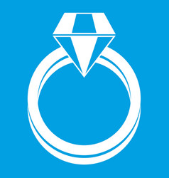 Single diamond ring icon white vector