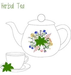 Teapot with tea cups herbal green vector