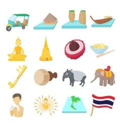 Thailand icons set cartoon style vector