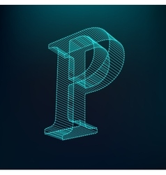 The letter P Polygonal letter Low poly model vector image vector image