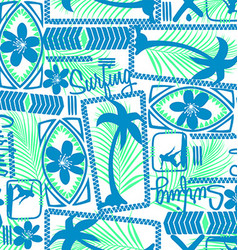Tribal surfing palm repeat seamless pattern vector