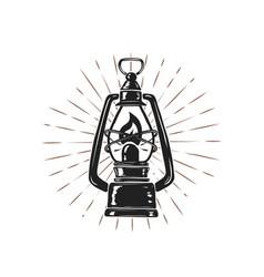 Vintage hand drawn kerosene lamp on sunburst vector