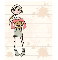 Hand drawn girl with books vector