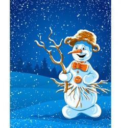 smiling snowman in winter night vector image