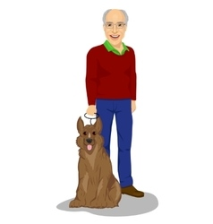 Happy senior man standing with king shepherd dog vector