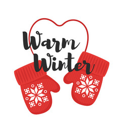 Cartoon style of mittens with title warm winter vector