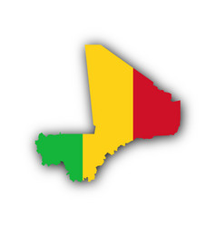 Map and flag of mali vector