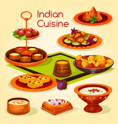 indian cuisine lunch with dessert cartoon icon vector image