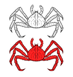 Set of king red crab icons isolated on white vector