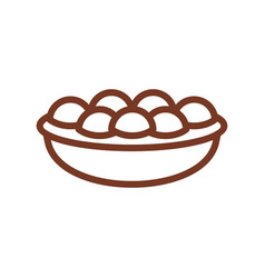 Pie line icon sign for production of bread and vector