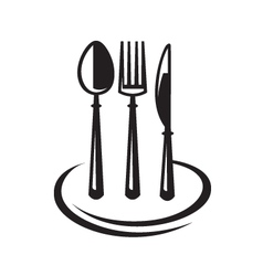 Knife fork spoon and plate vector